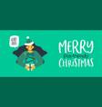 eco friendly christmas girl holding pine tree gift vector image vector image