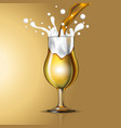 filling beer in glasses vector image vector image