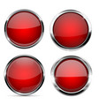 glass red buttons round 3d icons with metal frame vector image