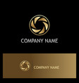 gold lens circle business logo vector image