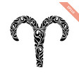hand drawn black ornate horoscope symbol - aries vector image