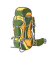 hand drawn sketch of camping backpack in color vector image