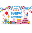 happy birthday greeting card in flat style vector image