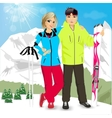 happy couple skiers vector image