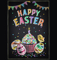 happy easter vintage poster with easter cake vector image vector image