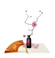 Ikebana Composition Figure Sakura flower Fan vector image vector image