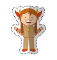 indian cute girl character vector image vector image