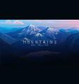 layered mountains banner dark blue landscape vector image