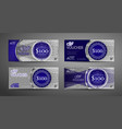 luxury gift voucher template collection set of vector image vector image