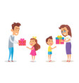 merry christmas poster father mother son daughter vector image