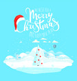merry christmas wishes winter season landscape vector image