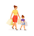 mom and daughter shopping vector image