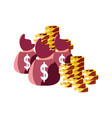 money bag coins stacked vector image vector image