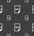 MP4 Icon sign Seamless pattern on a gray vector image
