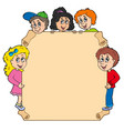 parchment with various lurking kids vector image