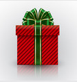 red gift box with a big with green bow realistic vector image
