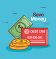 save money set collection icons vector image