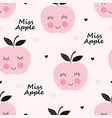 seamless pattern with abstract smiling apples vector image vector image