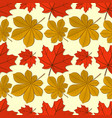 seamless pattern with maple and chestnut leaves vector image vector image
