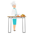 senior caucasian chef cooking vegetable salad vector image vector image