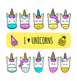 set of colored unicorn icons isolated on white vector image