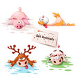 set sleep animals - pig duck deer cow vector image vector image