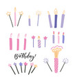 set thin colorful striped decorative candles vector image