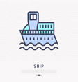 ship thin line icon side view vector image