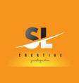 sl s l letter modern logo design with yellow vector image vector image
