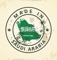 Stamp with map flag of Saudi Arabia vector image vector image