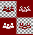 team work sign bordo and white icons and vector image vector image