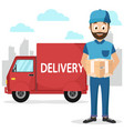 the courier brought the parcel by car in the city vector image