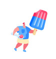 tiny male character with scoop in hand carry huge vector image