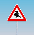 traffic sign with a silhouette santa claus vector image vector image