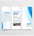 trifold brochure design template with blue wavy vector image vector image