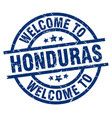 welcome to honduras blue stamp vector image vector image