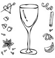 white wine glass hand drawn vector image vector image