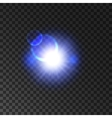 Blue glowing light flash with lens flare effect vector image