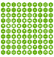 100 motorsport icons hexagon green vector image vector image