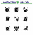 9 solid glyph black set corona virus epidemic vector image vector image