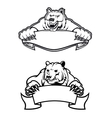 angry bears mascots with banners vector image