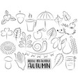 autumn season icons set black and white hand vector image