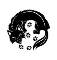 black wolf sign vector image vector image