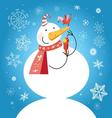 Bright funny snowman with a bird vector image vector image