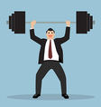 businessman lifting a heavy weight vector image vector image