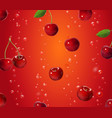 cherry falling in juice berry on red background vector image vector image