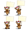 Christmas Elks Placard vector image vector image