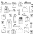 Christmas pattern with hand drawn gift boxes vector image vector image