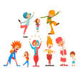 cute funny clowns and happy kids set boys and vector image vector image