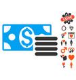 dollar cash icon with love bonus vector image vector image